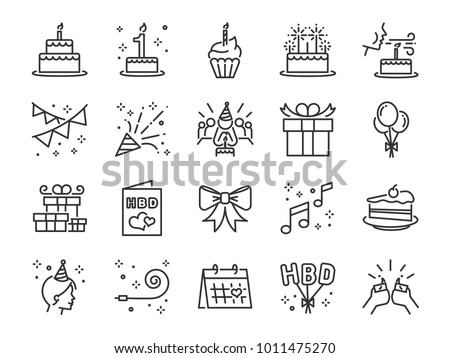 gift boxes icons happy birthday set design elements for holiday stock photo © elenapro