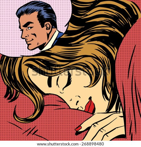 Dream woman man love romance lovers pop art comics retro style H Stock photo © studiostoks
