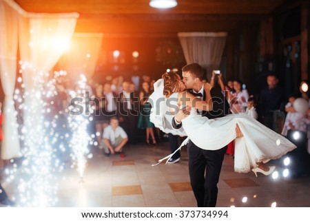 happy young bride enjoying wedding day in fashion white dress wi stock photo © victoria_andreas