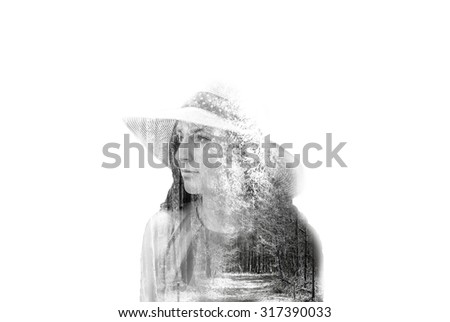 Stok fotoğraf: Double Exposure Of A Young Womans Portrait And A Forrest With No Leaves Over White Background