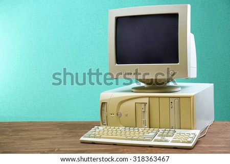 retro display monitor for personal computer with blank screen stock photo © loopall