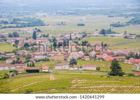 village Julienas with vineyards in Beaujolais, Rhone-Alpes, Fran Stock photo © phbcz