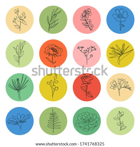 flat style vector circle template collection of nature gardening stock photo © anna_leni