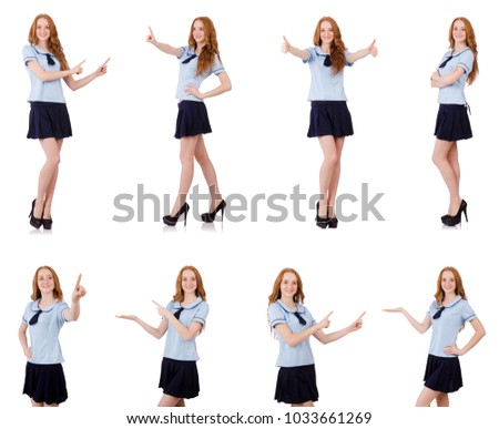 Young naughty student pressing virtual button isolated on white Stock photo © Elnur