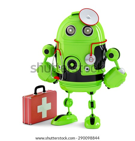 robot repairing tablet computer contains clipping path of screen and entire scene stock photo © kirill_m