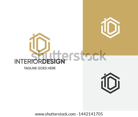 D for design- Logo for interior design or architecture showing space with door plan  Stock photo © shawlinmohd