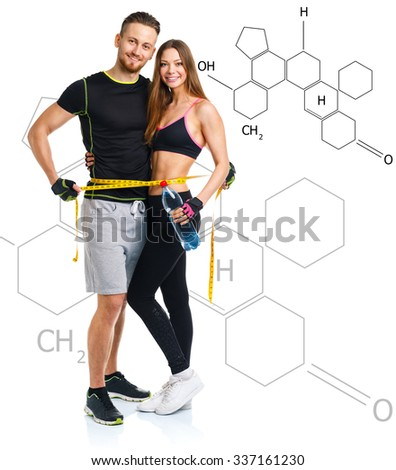 Athletic man with measuring tape with the chemical formula on ba Stock photo © vlad_star
