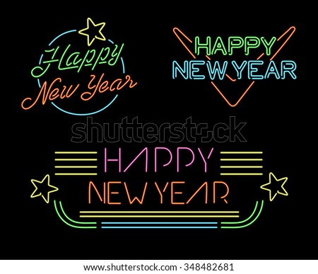 Vector Illustration of 2016 new year Outline neon light BAckground for Design, Website, Banner. Holi Stock photo © rommeo79