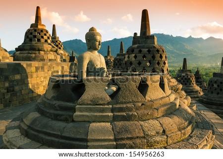 храма · закат · Ява · Индонезия · поклонения · архитектура - Сток-фото © mariusz_prusaczyk