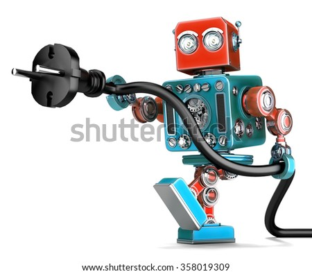 retro robot with electric plug isolated contains clipping path stock photo © kirill_m