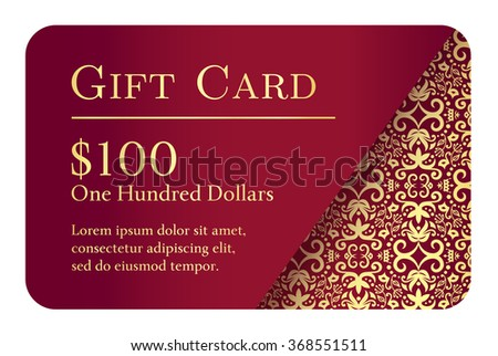 Vintage red gift card with golden lace ornament in right corner Stock photo © liliwhite