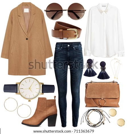 Stockfoto: Fashion Set Of Womans Clothes And Accessories - Coat Ballerina Skirt Top Make Up Flat Shoes Di