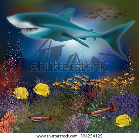 Underwater wallpaper with shark and old ship, vector illustration Stock photo © carodi