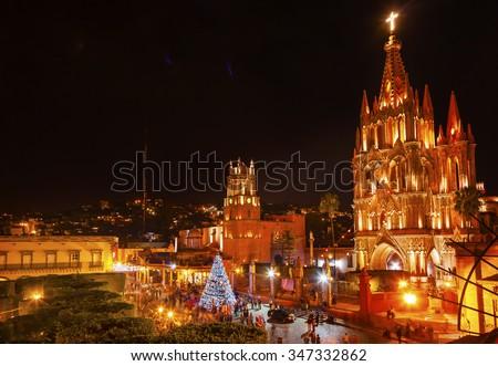 Natal noite igreja México fachada edifício Foto stock © billperry