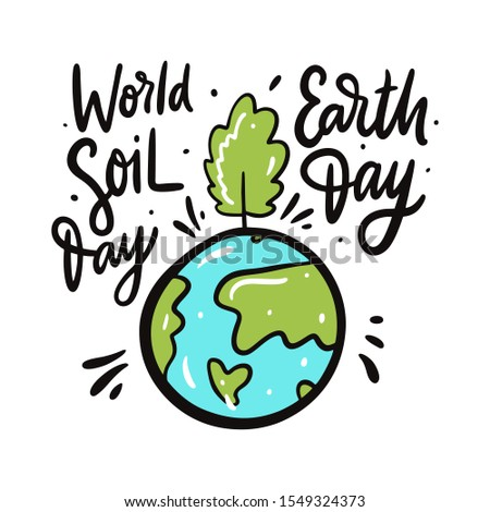 Earth Day. Green Earth and wind energy. Earth Day lettering text Stock photo © orensila