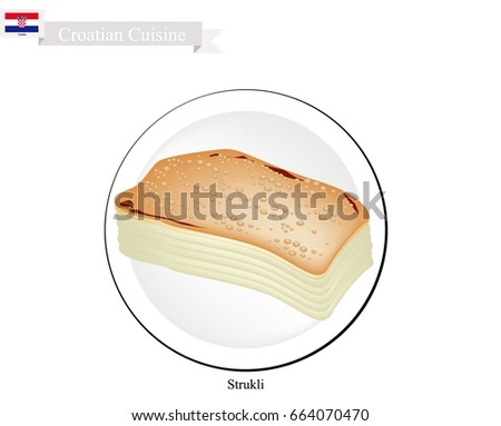 Strukle with cream - famous Croatian appetizer made with fresh c Stock photo © gsermek