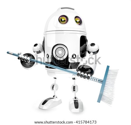 robot cleaner with mop isolated over white 3d illustration co stock photo © kirill_m