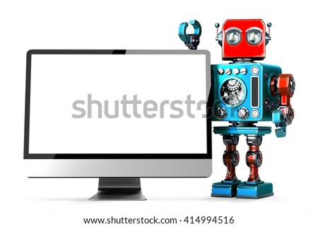 Retro Robot with computer display. Isolated. 3D illustration. Co Stock photo © Kirill_M