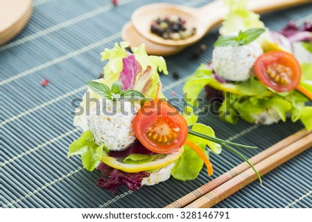 Sağlıklı pirinç protein peynir kiraz domates susam Stok fotoğraf © x3mwoman