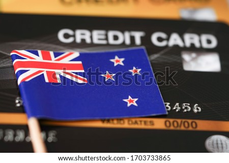 Credit card with New Zealand flag background for bank, presentations and business. Isolated on white Stock photo © tkacchuk