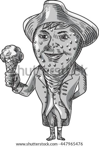 Aardbei hoed ijs gentleman aquarel stijl Stockfoto © patrimonio