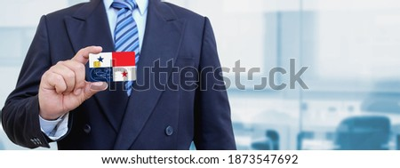 Credit card with Panama flag background for bank, presentations and business. Isolated on white Stock photo © tkacchuk
