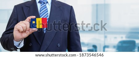 credit card with romania flag background for bank presentations and business isolated on white stock photo © tkacchuk