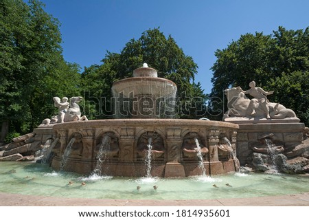the wittelsbacher fountain at the lenbachplatz in munich german stock photo © vladacanon