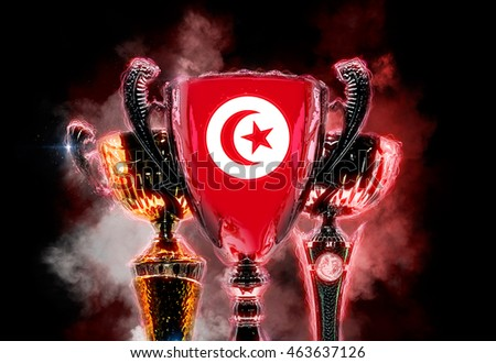 Troféu copo bandeira Tunísia digital Foto stock © Kirill_M