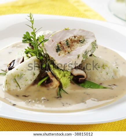 stuffed chicken breast with potato dumplings and mushroom sauc stock photo © digifoodstock
