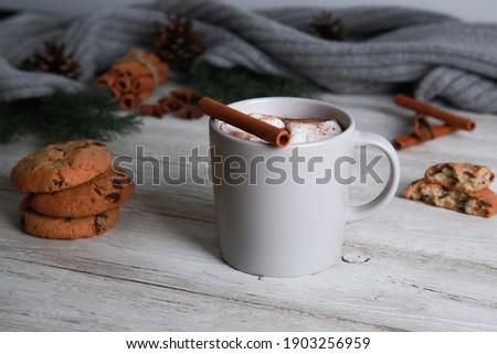 Caldo cacao cookies grigio legno cioccolato Foto d'archivio © dashapetrenko