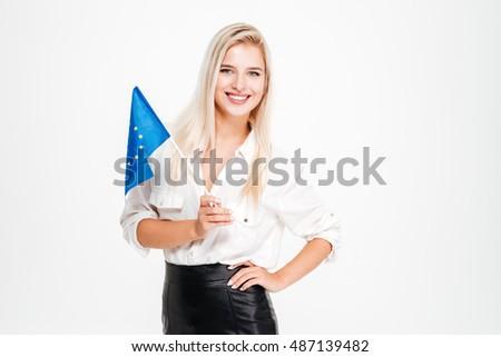 Uśmiechnięty cute młodych kobieta interesu banderą Zdjęcia stock © deandrobot