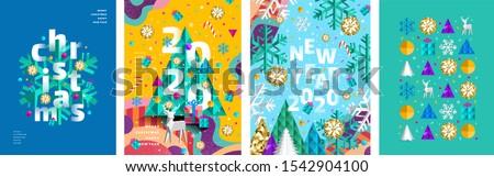 vidám · karácsony · boldog · új · évet · üdvözlőlap · vízszintes · ünnep - stock fotó © Evgeny89