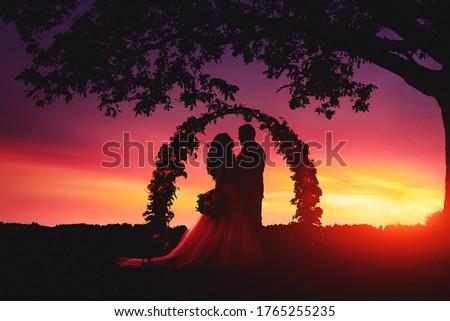 Tramonto sposa silhouette cerimonia di nozze arch fiore Foto d'archivio © Victoria_Andreas