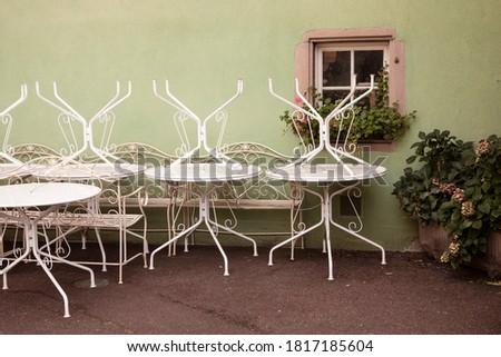 romantic · idilic · plantă · tabel · grădină · vechi - imagine de stoc © klinker
