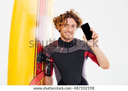 Bello sorridere surfer schermo Foto d'archivio © deandrobot