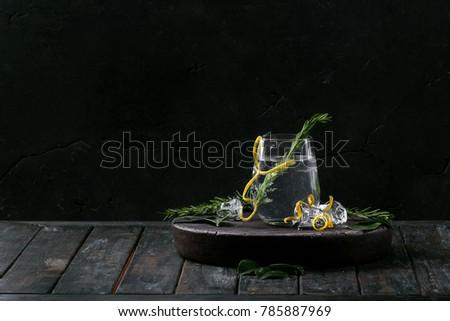 vidrio · botella · agrios · cóctel · oscuro · piedra - foto stock © karpenkovdenis