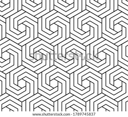 vector seamless black and white hexagonal swirl shape pattern stock photo © creatorsclub