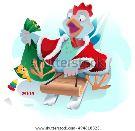 Christmas cock rolls on sledge from mountain. Blue cartoon Rooster symbol 2017 and wall calendar Stock photo © orensila