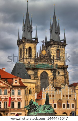 Church of Our Lady in front of Tyn and Jan Hus Statue in Prague Stock photo © alessandro0770