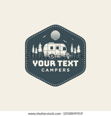 happy camper logo design vintage bus illustration rv truck emblem van icon template surfing equi stock photo © jeksongraphics