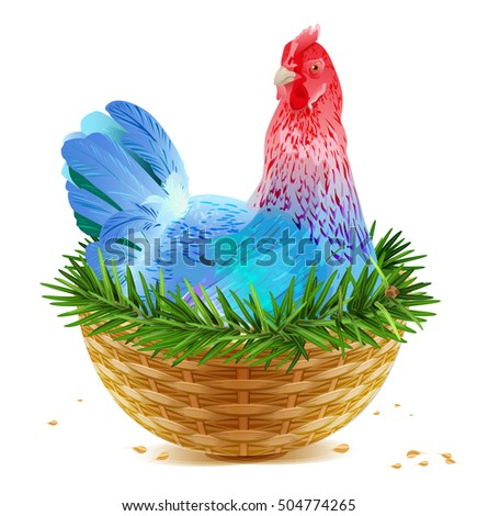 Azul Navidad pollo gallina símbolo Foto stock © orensila