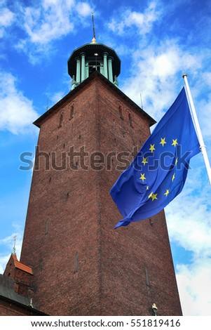 Stockholm város előcsarnok EU zászló stock Stock fotó © vladacanon