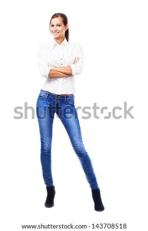 若い女の子 白 シャツ ブーツ 立って ストックフォト © ShawnHempel
