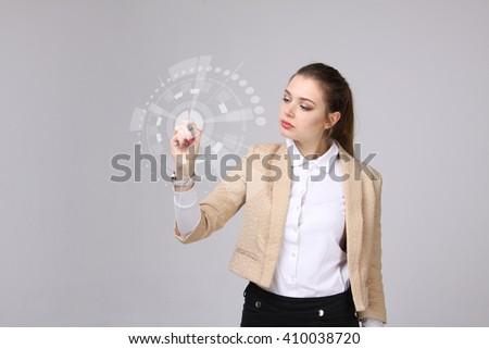 Businesswoman working in futuristic cyberspace hightech environm Stock photo © stevanovicigor