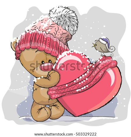 happy valentines day knitting teddy bear with love vector illustration stock photo © carodi