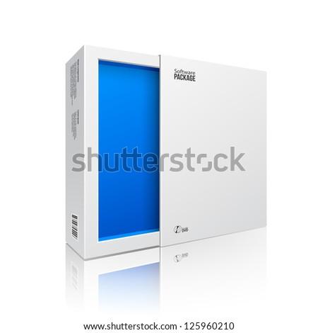 3d · illusztráció · kinyitott · kék · modern · szoftver · csomag - stock fotó © tussik