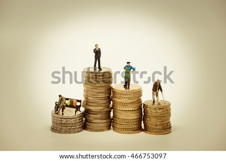 People of various social groups on pile of coins. Financial conc Stock photo © Kirill_M