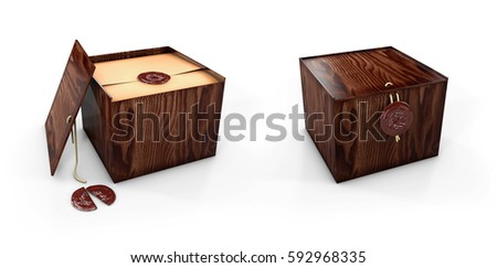 Close and open Wooden box caskets with royal stamp. 3d Illustaration Stock photo © tussik