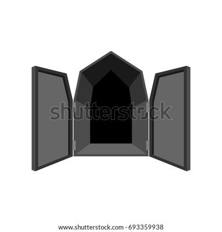 Open deuren geïsoleerd deur hel zwarte Stockfoto © MaryValery